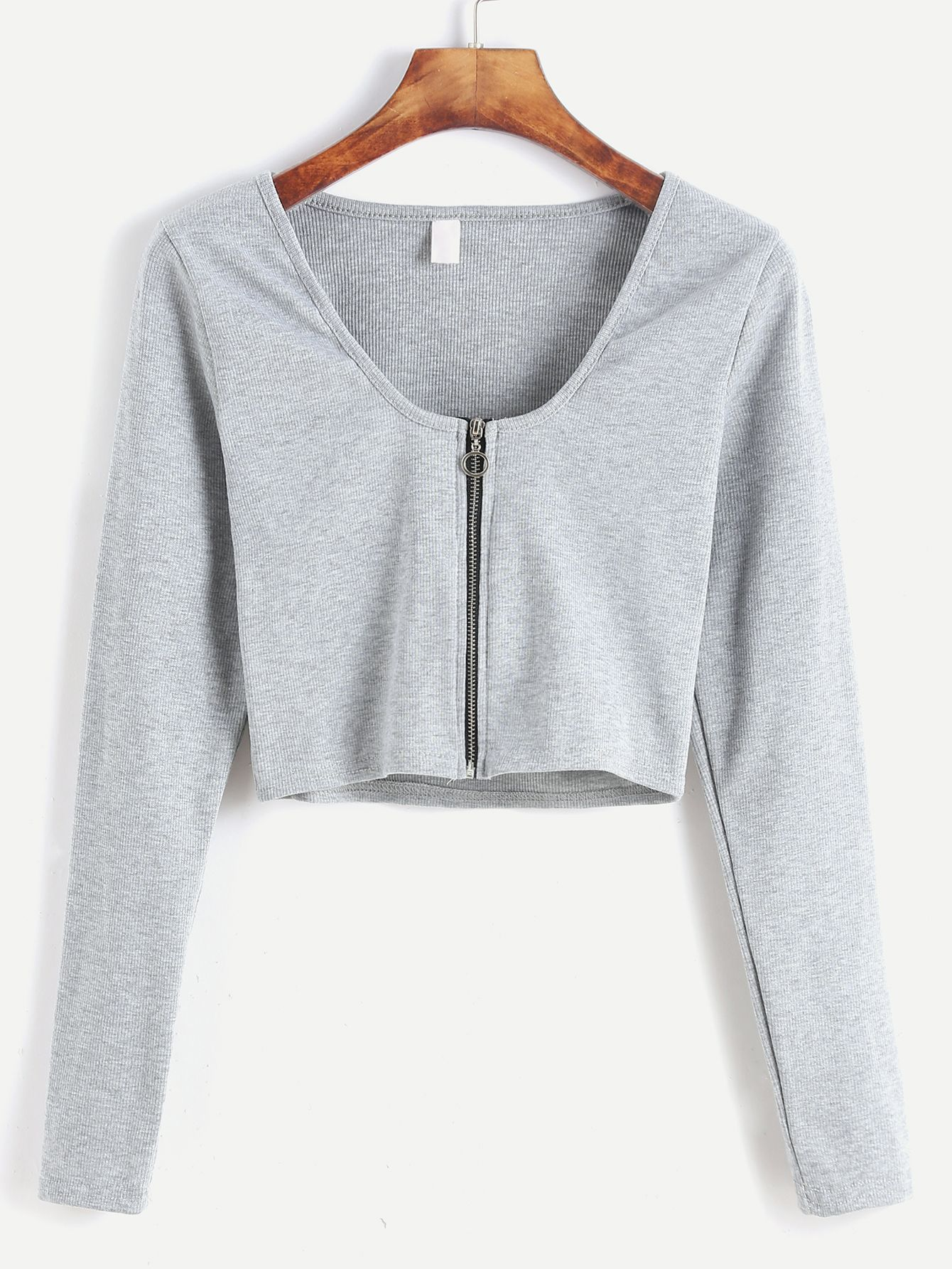 Camiseta corta con cremallera - gris claro-Spanish SheIn(Sheinside ... 33aa516f686
