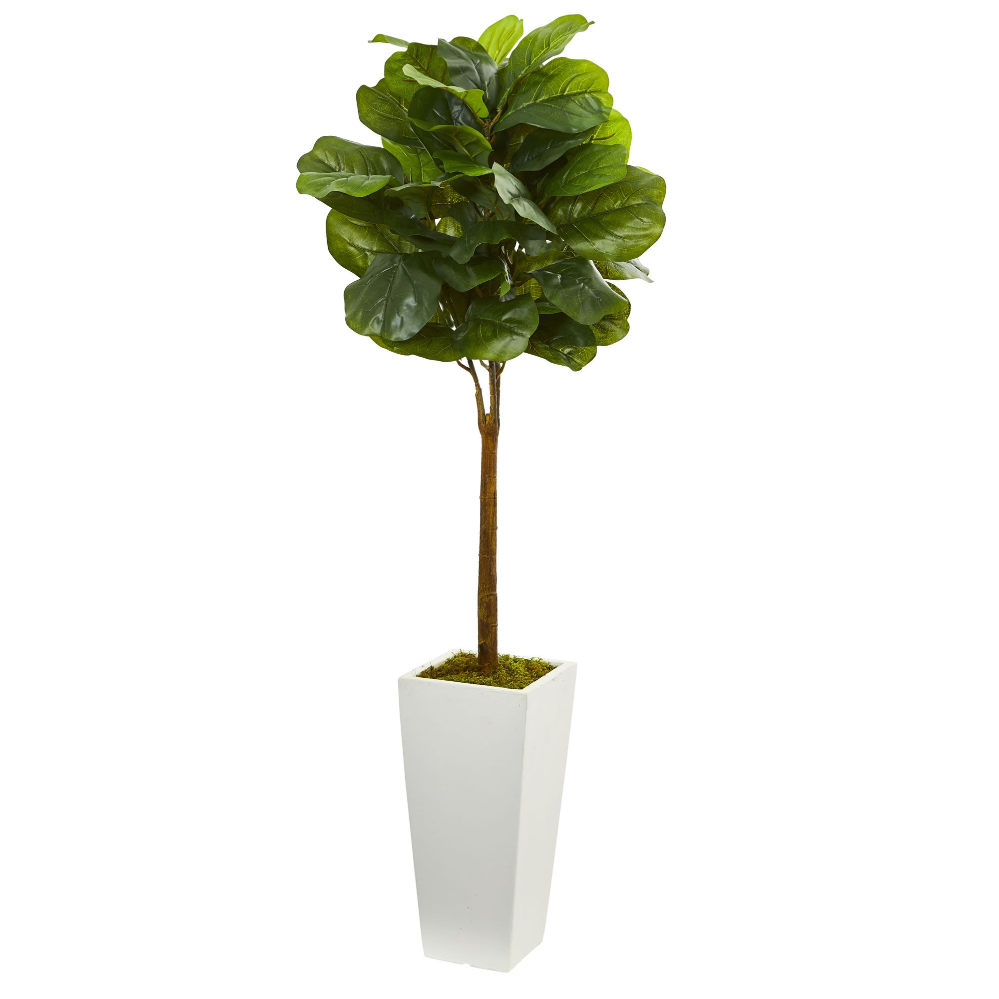 With A Noticeable Sheen Coating On Its Leaves The Fiddle Leaf Tree Is An Attractive Addition To Your Home Decor The Whi Artificial Tree Faux Tree Faux Plants