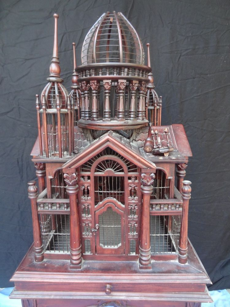Ornate Antique Wooden Victorian Style Bird Cage With Stand