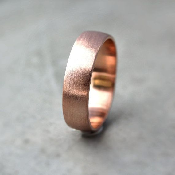 Wide Rose Gold Men S Wedding Band Recycled Brushed Low Dome Man Ring Made In Your Size