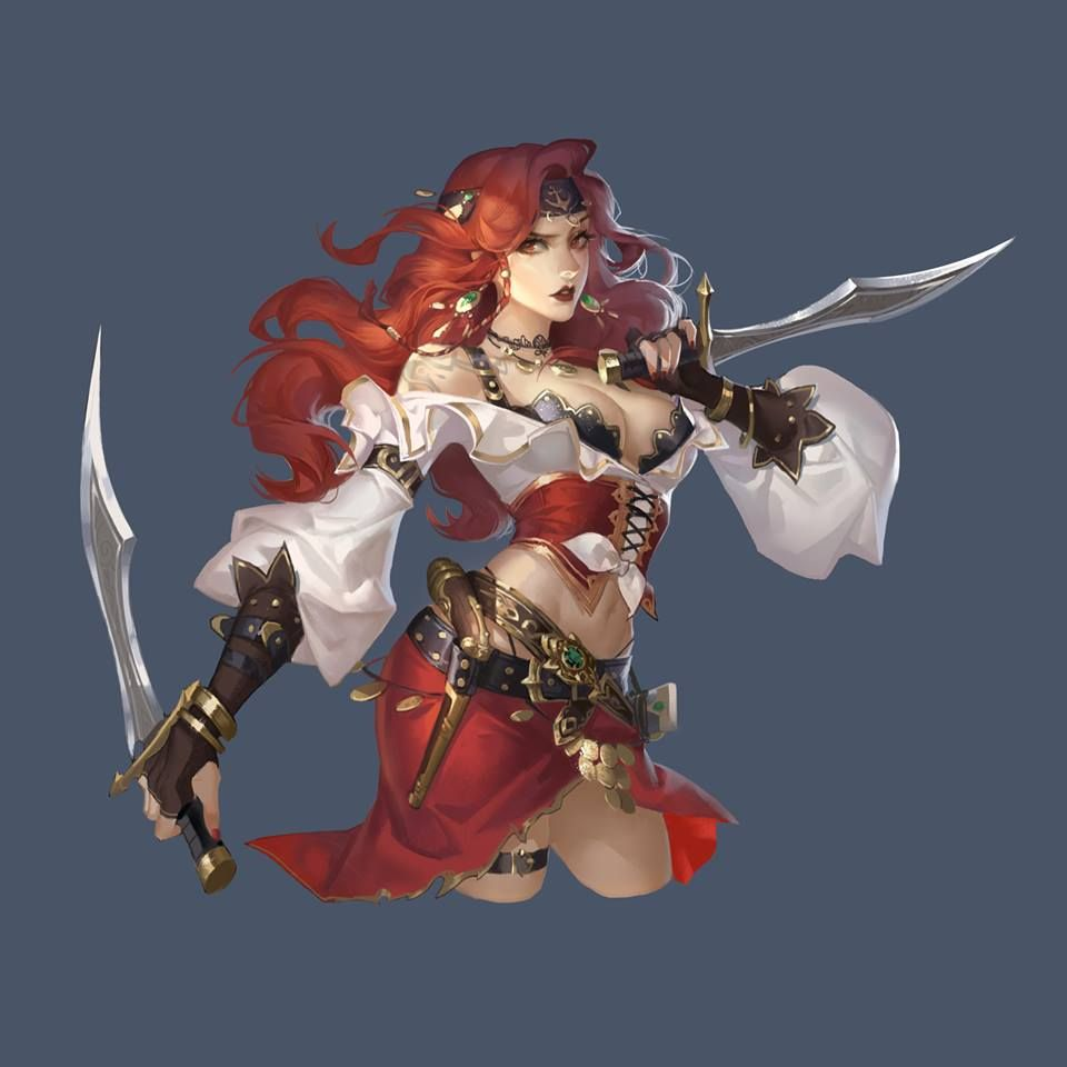 Female Human Fighter Rogue Swashbuckler  Character Art -4978