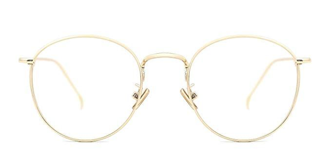 467fdd1d1b TIJN Women Metal Circle Eyeglasses Fashion Full Rim Round Thin Artist Frame-Henk  Review