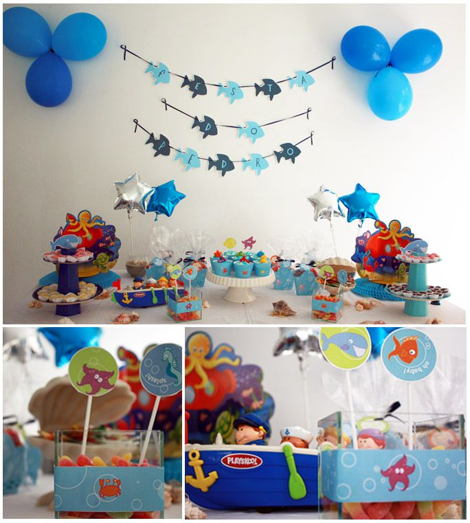 Anniversaire theme marin f te poisson pinterest for Decoration theme marin