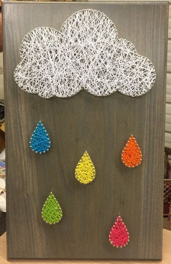 Cloud And Raindrop String Art Crafts String Art Art