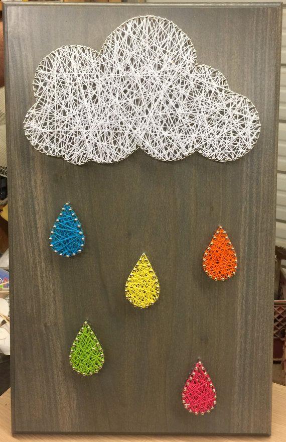 Cloud And Raindrop String Art Crafts String Art Art Wire Art