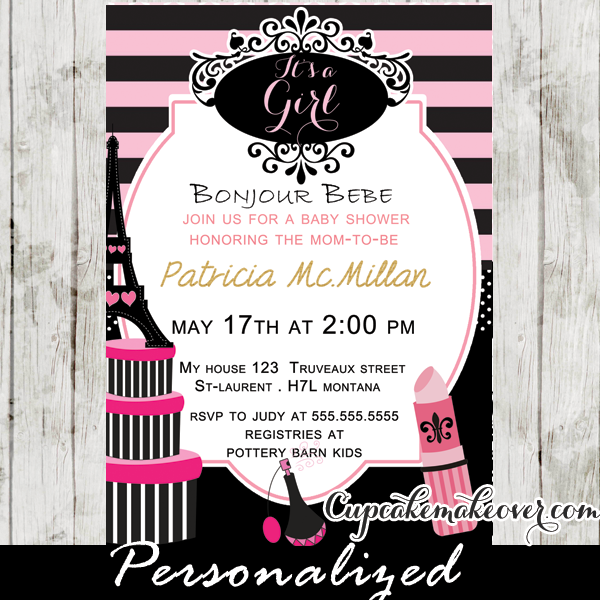 Paris diva baby shower invitation personalized paris baby paris diva baby shower invitation personalized cupcakemakeover filmwisefo Gallery
