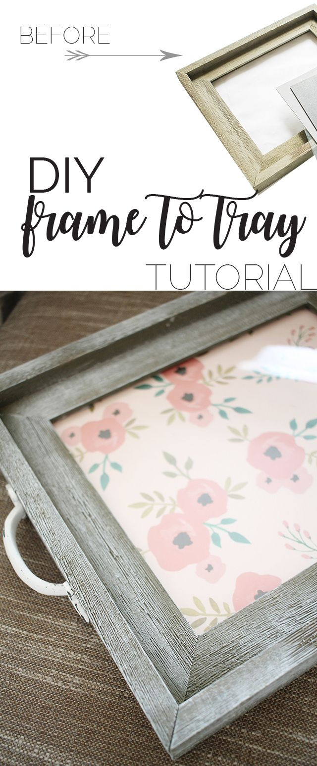 DIY Frame To Tray Tutorial With Shutterfly is part of Diy home decor - DIY frame to tray tutorial  Thrifty decor projects  How to turn a frame into tray  Repurposed thrifted frame ideas