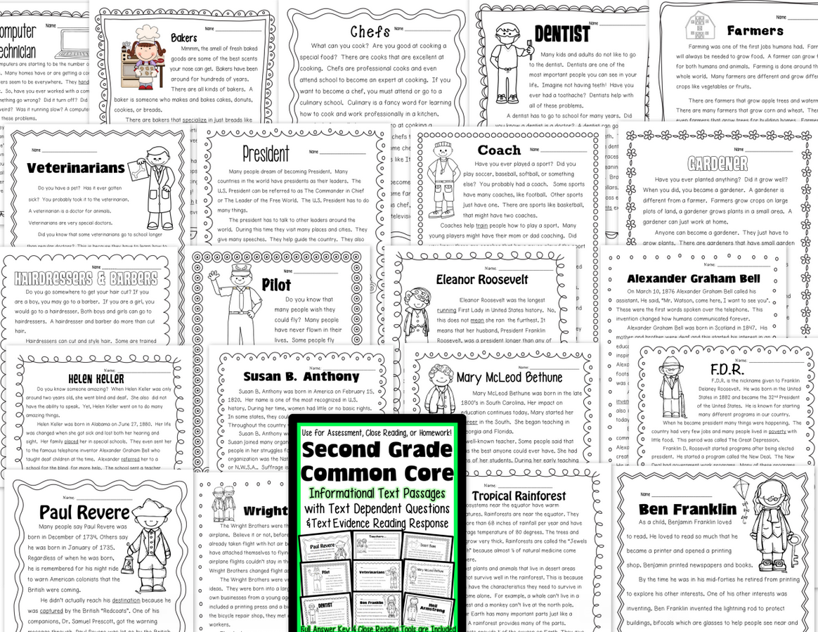2nd Grade Common Core: Informational Text Passages for