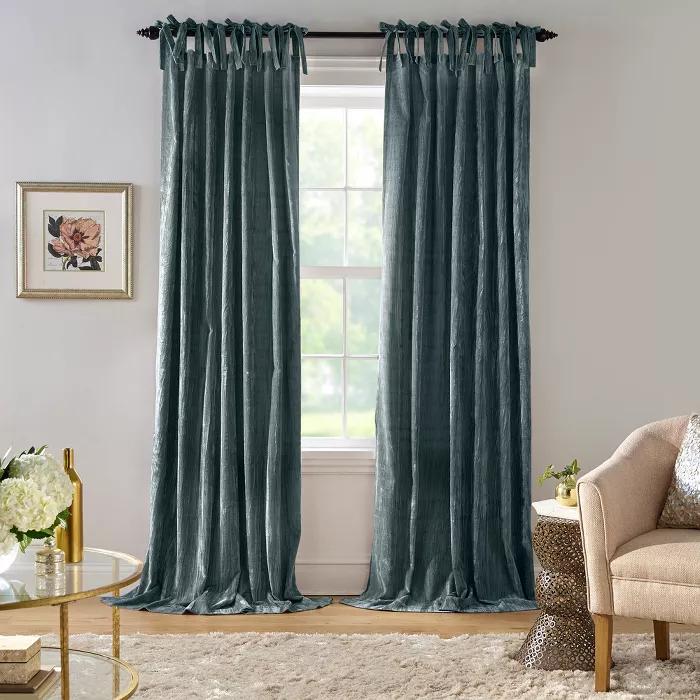 Korena Tie Top Crushed Velvet Window Curtain Panel Elrene Home Fashions Elrene Home Fashions Velvet Curtains Panel Curtains