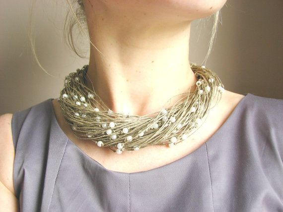 scattered pearls S linen necklace by GreyHeartOfStone on Etsy