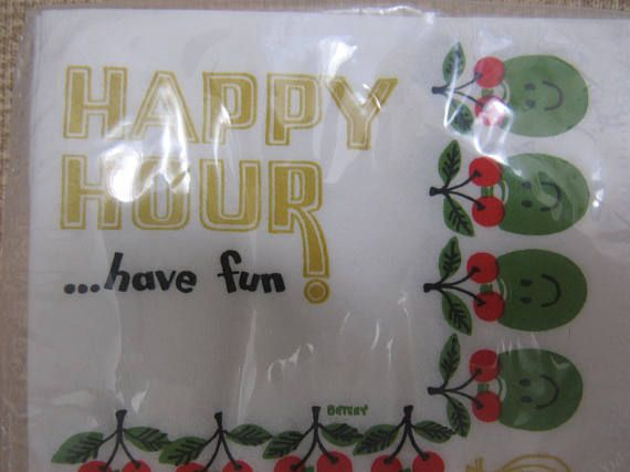 Funny Vintage 1960s Happy Hour Have Fun Cocktail Beverage