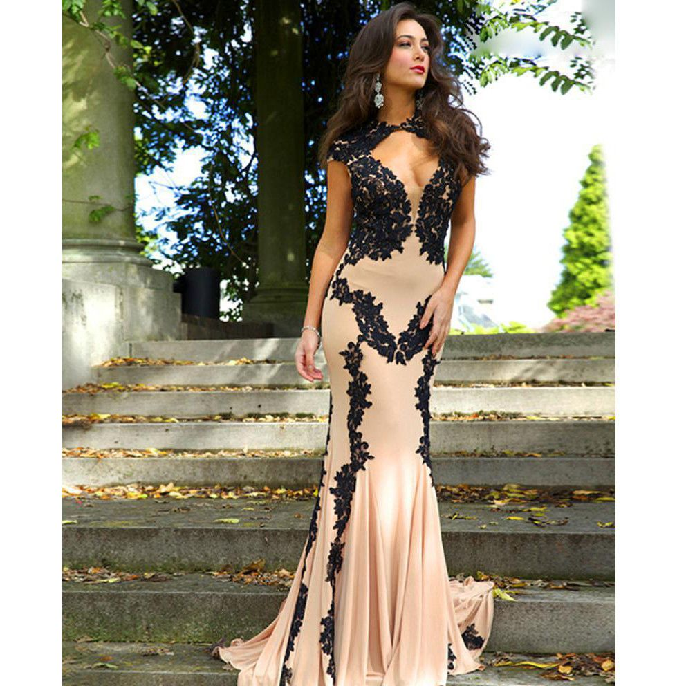 Long prom dress with black lace applied pst prom dresses