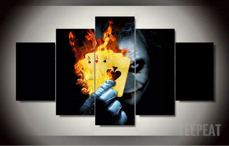 Batman Joker Cards 5 Piece Canvas Painting Limited Edition
