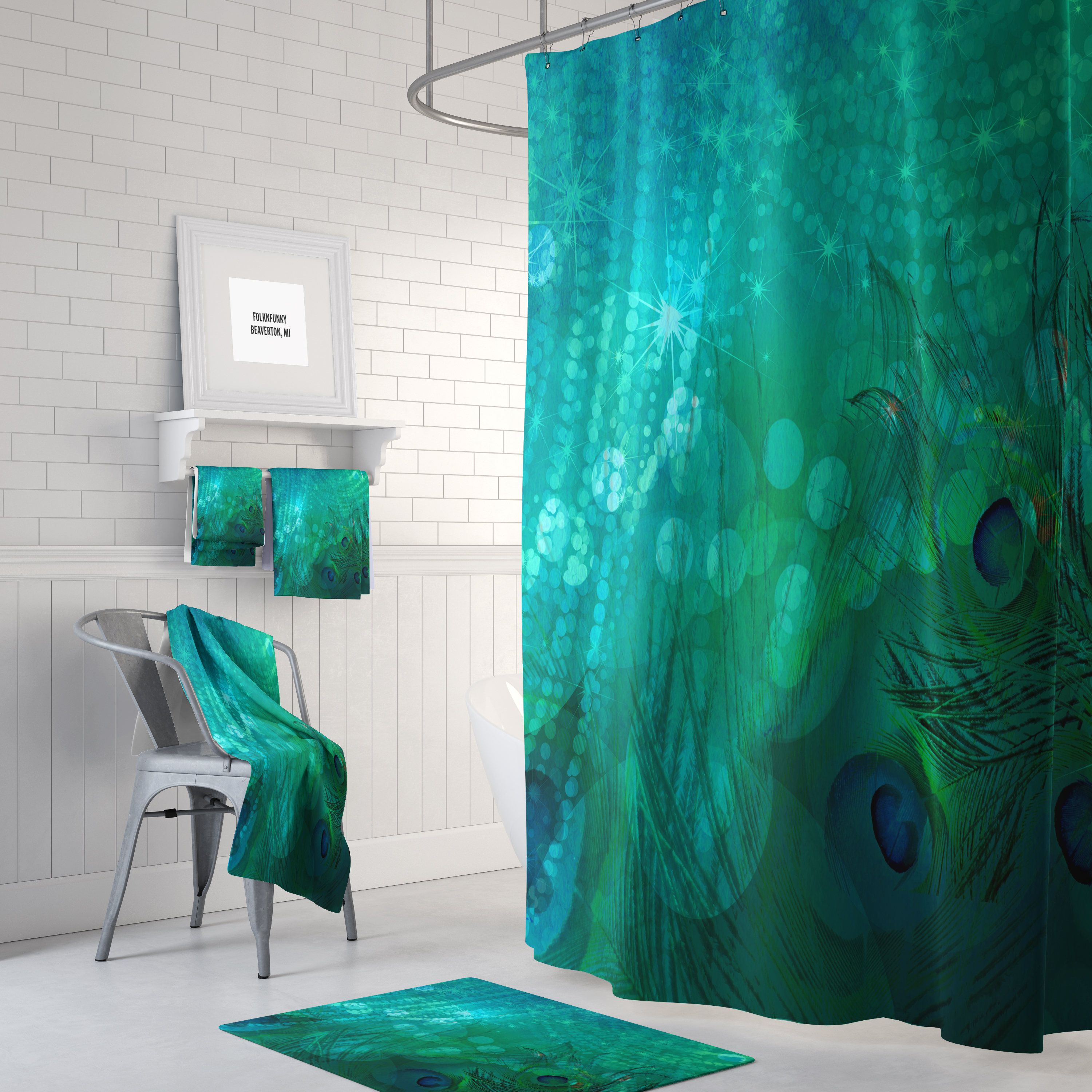 Teal Peacock Shower Curtain Bath Mat And Towels Available