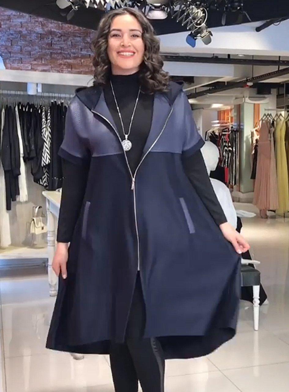Buyuk Beden 2058 Yarasa Kol Derili Hirka Lacivert Moda Stilleri Kadin Giyim Giyim