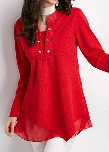 Asymmetric Hem Cowl Neck Long Sleeve Red Blouse On Sale Only Us