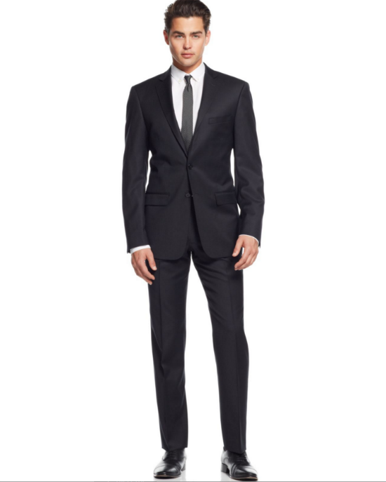 776b4e1b67544c Calvin Klein Black Tonal-Striped Slim-Fit 2 Piece Suit in 2019 ...