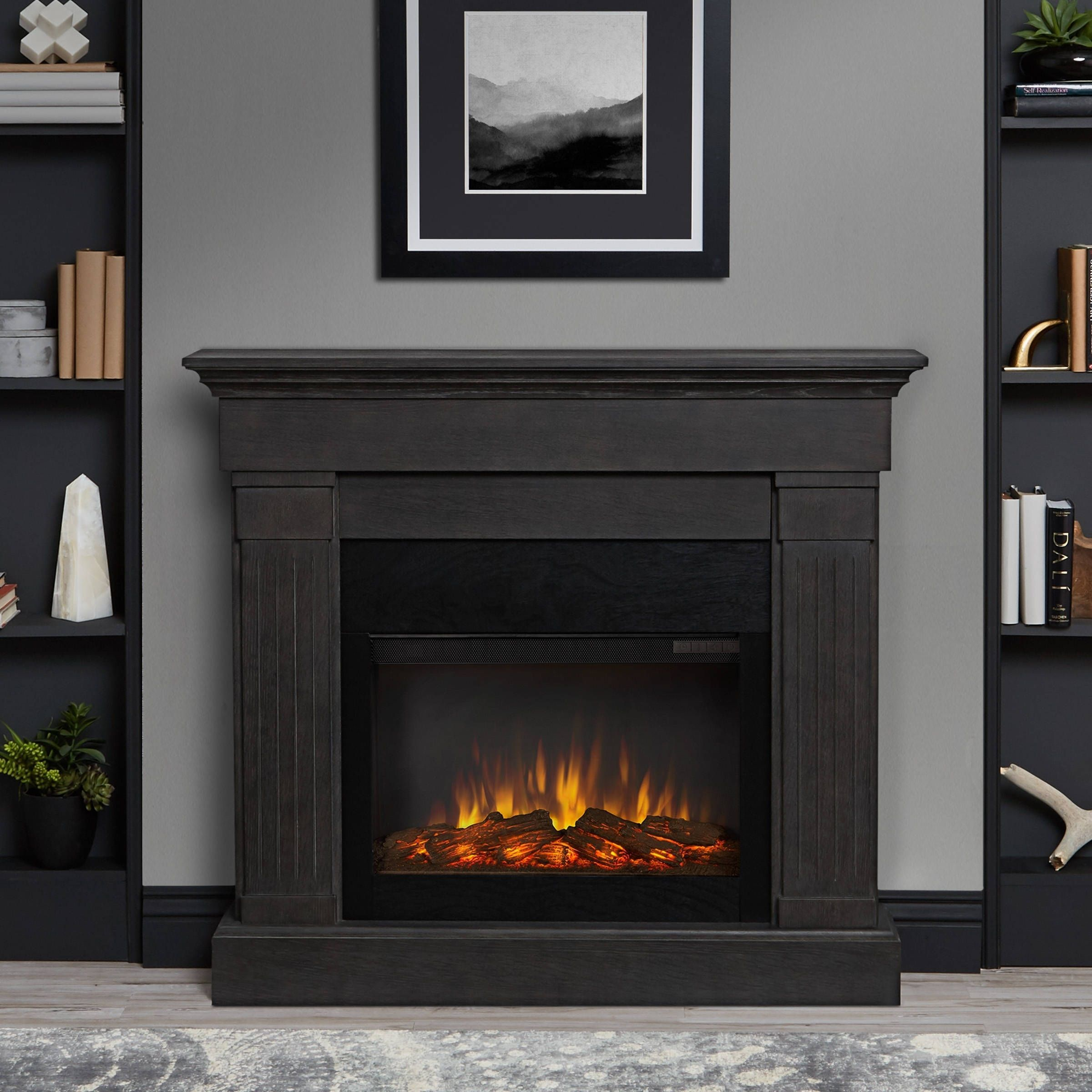 real flame crawford electric fireplace gray 47 4x 9 5 x 41 9 grey rh pinterest com Fireplace Metal Firebox Wood Fireplaces Product