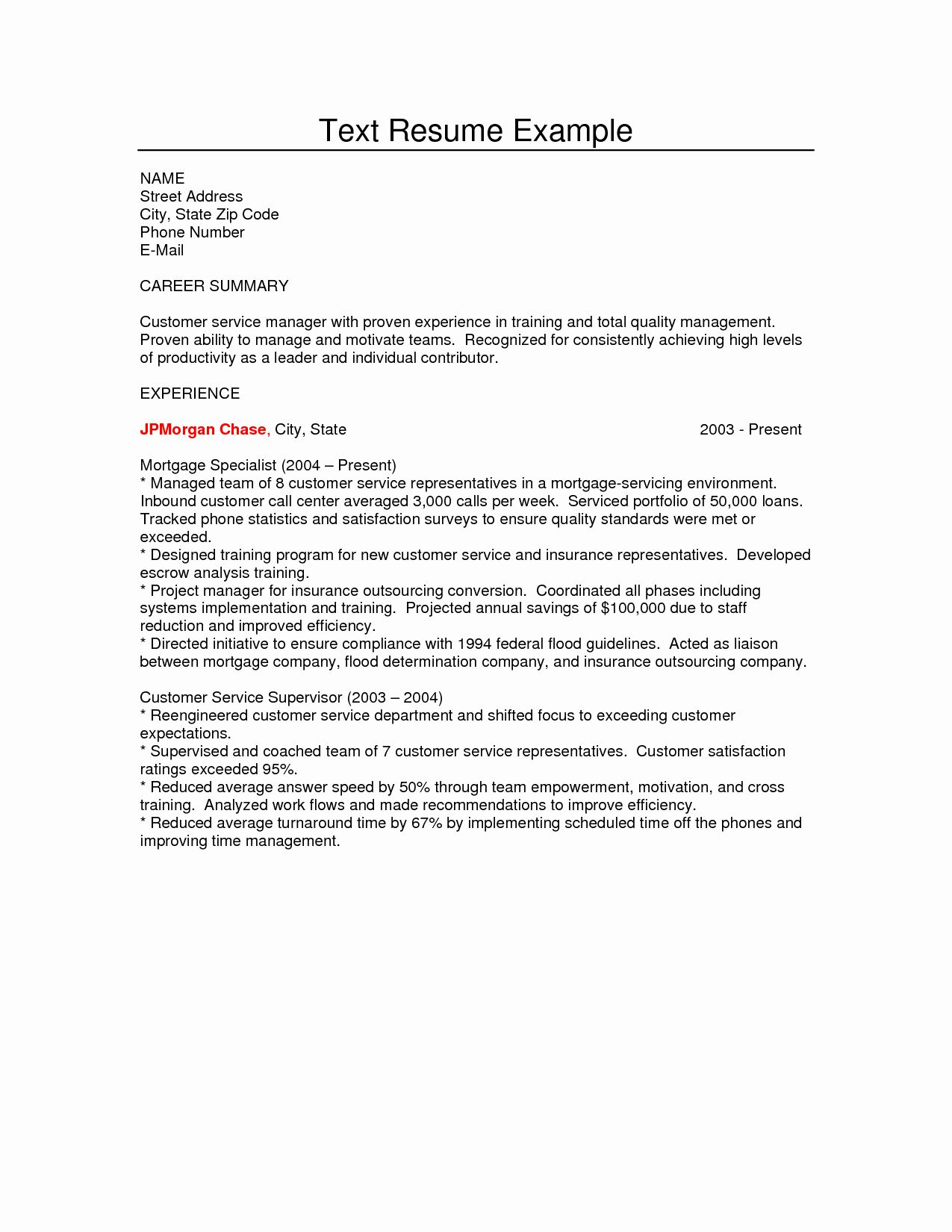 Plain Text Resume Examples New Example Of Plain Text Cover Letter Business Letter Format Resume Examples Good Resume Examples