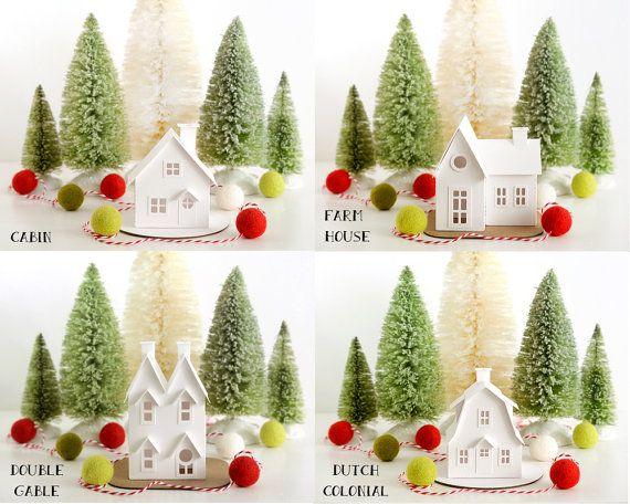 DIY Putz Village Ornament Kit Glitter House di HolidaySpiritsDecor