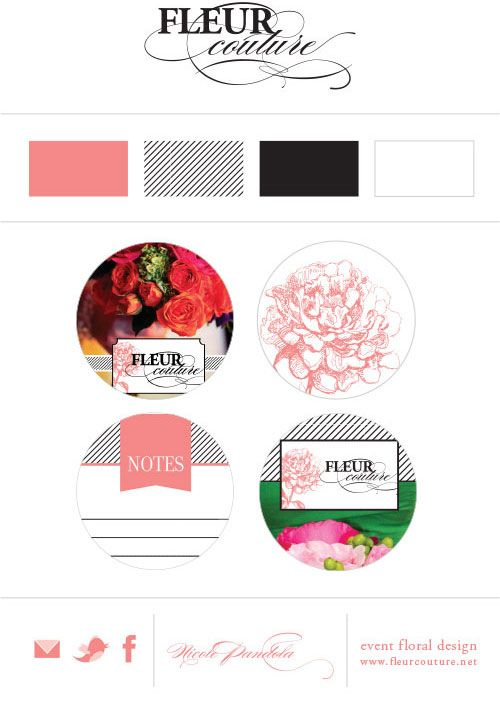 Brand Mood Board - rose pink, black and white stripe - designed by Semicolyn