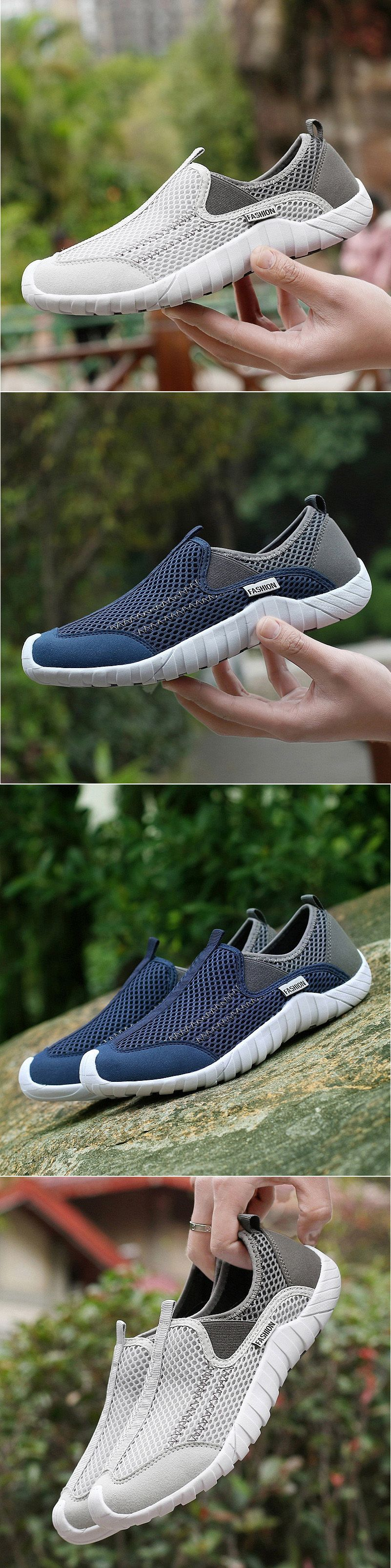 Men Lycra Mesh Fabric Breathable Running Shoes Non Slip Casual Sneakers Mens Fashion Shoes Casual Sneakers Casual Shoes