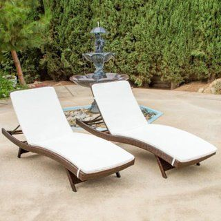 AmazonSmile : Christopher Knight Home Outdoor Brown Wicker Adjustable Chaise Lounge with Cushions (Set of 2) : Patio, Lawn & Garden