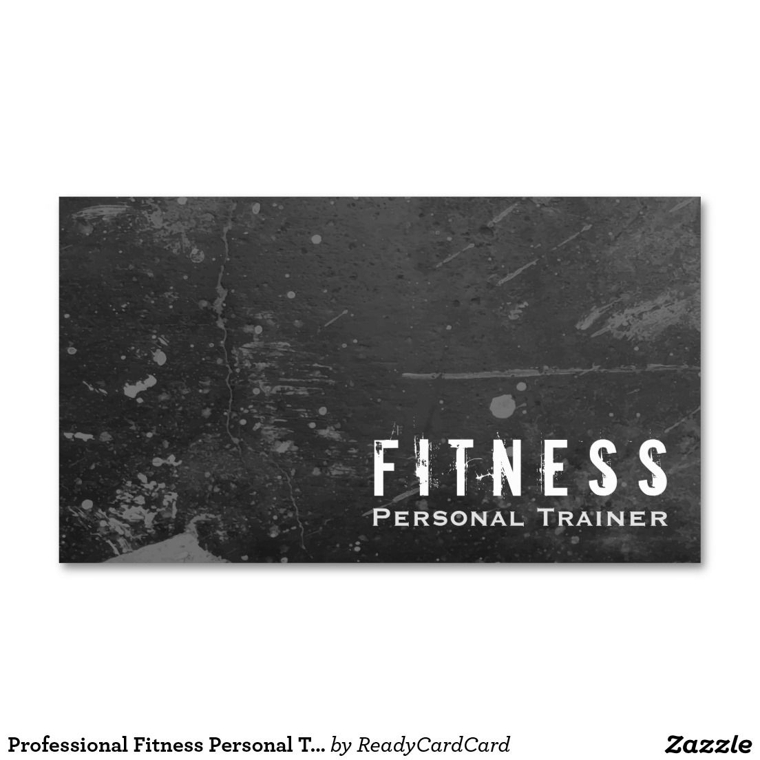 Professional Fitness Personal Trainer Black Grunge Business Card
