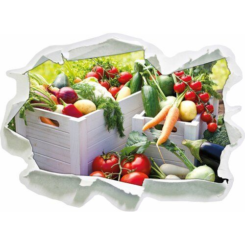 East Urban Home Fruit Vegetables Cucumber Tomatoes Food Herbs Dill Leek Lettuce Cabbage Wall Sticker | Wayfair.co.uk #obstgemüse