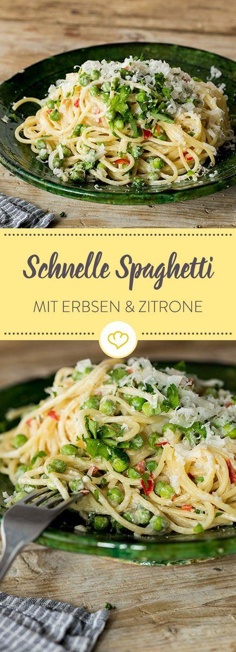 Cremige Spaghetti mit Chili, Erbsen und Zitrone #veggiechilirecipe