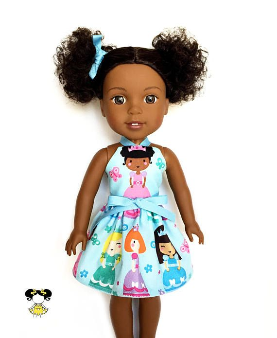 Magical and fun in this princess doll dress, perfect for the Wellie Wishers! The dress features a black hair princess print on a blue background with a blue ribbon tie. Item was handcrafted in our pet free, smoke free sewing studio. • Listing includes – 1 Halter dress (black hair/ brown