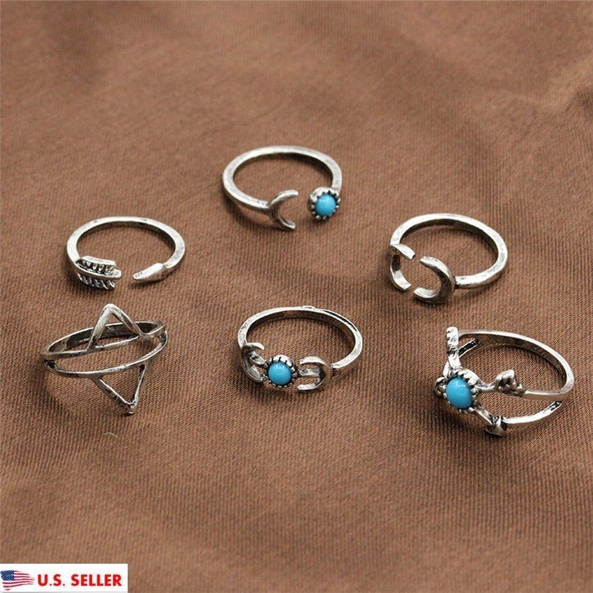 6pcs Set Silver Plated Above Knuckle Band Mid Midi Ring Turquoise stacking Rings