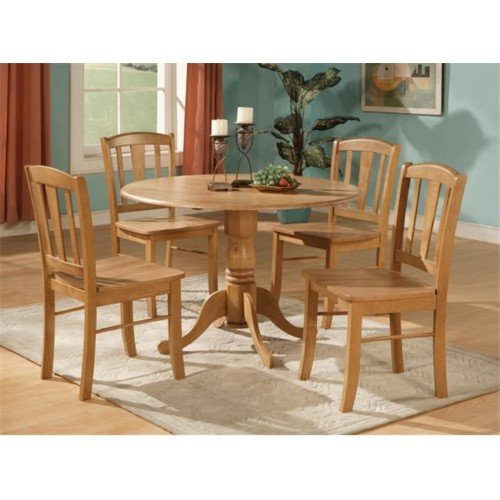 5 Piece Small Kitchen Table and Chairs Set-Round Table and 4 Dinette