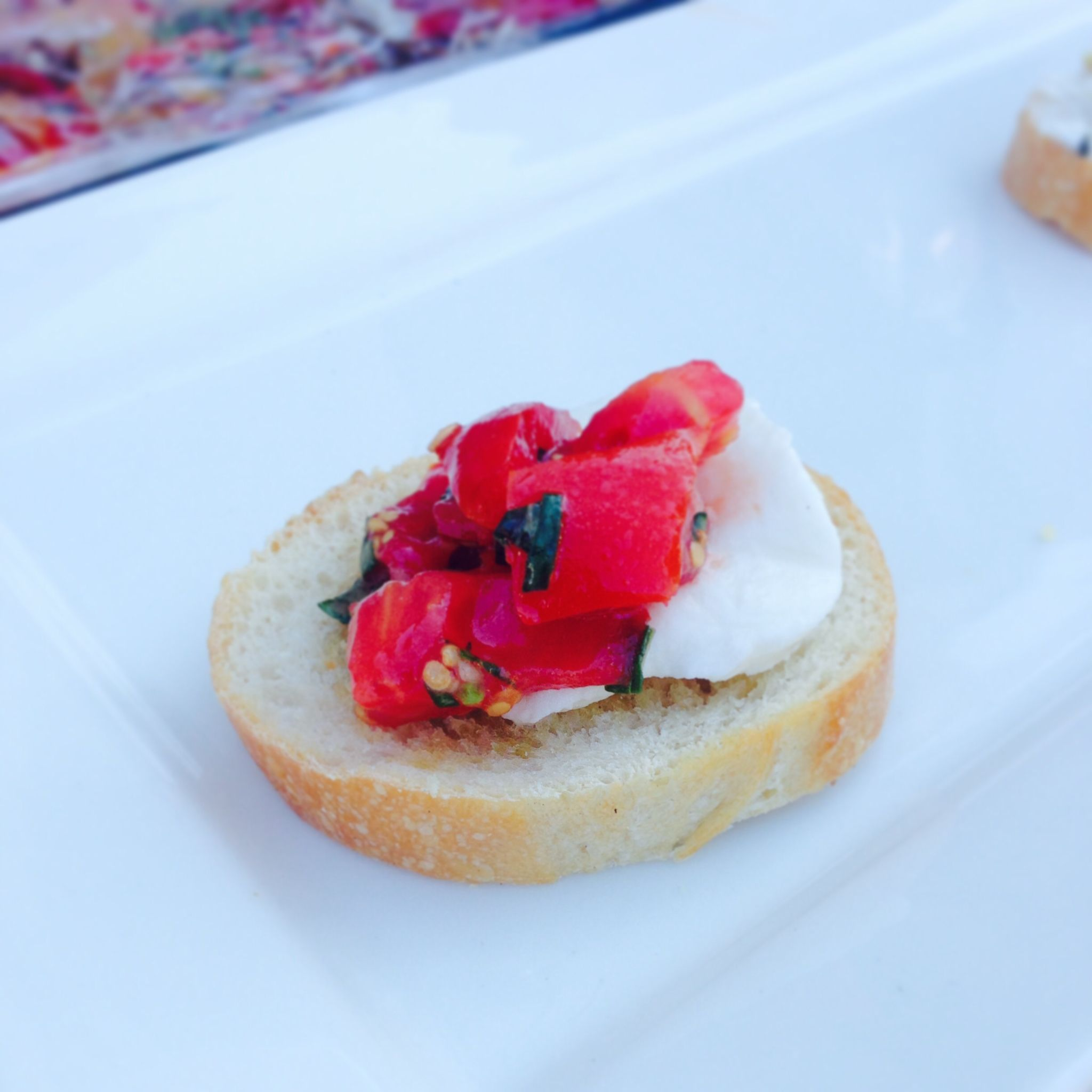Our classic Bruschetta with tomatoes, garlic, basil & fresh mozzarella. Farm to Table Catering.