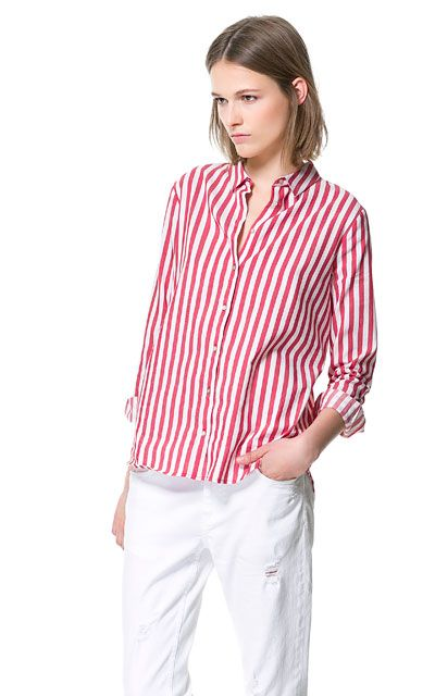 a7b6637bf0 White & Red STRIPED SHIRT from Zara 50USD | Love Love Love | Trouser ...