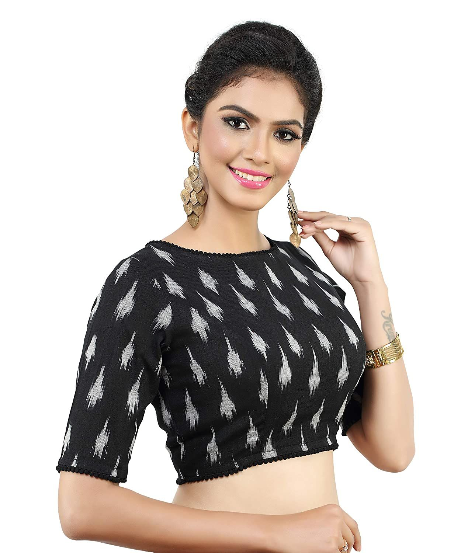 Pure Cotton Ikkat Print Blouse New Indian Designer Readymade Blouse For Women Wedding,Party Wear Saree Choli Top Tunic Sari Blouse
