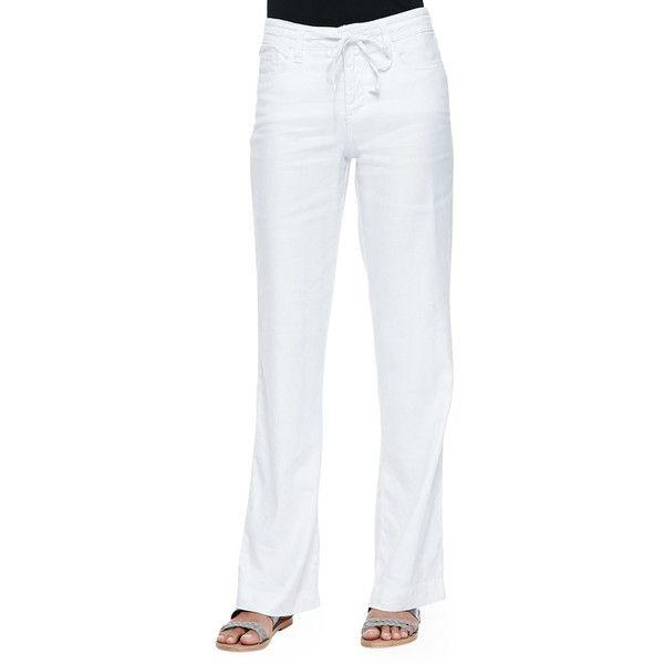 NYDJ Lindsey Wide-Leg Linen Pants ($58) ❤ liked on Polyvore featuring pants, optic white, 5 pocket pants, men pants, wide-leg pants, white wide leg trousers and linen pants
