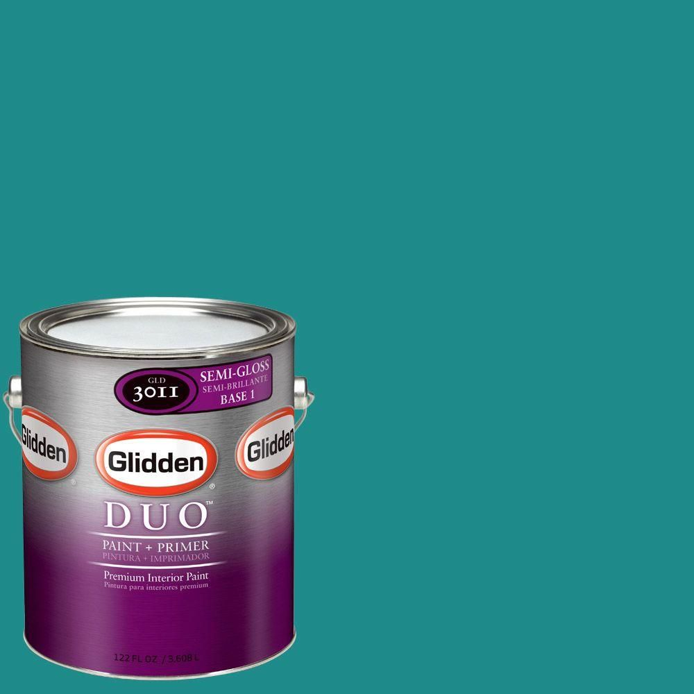 Glidden Team Colors 1 Gal Nfl 175d Nfl Miami Dolphins Light Aqua Semi Gloss Interior Paint And