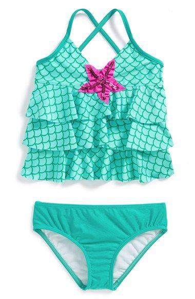 Kids Baby Girls Toddler Ariel Swimsuit Swimwear Bathing Suit Bikini Tankini Set