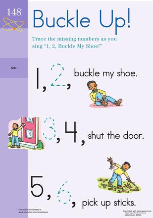 1 2 Buckle Your Shoe Worksheet Education Com Kindergarten Songs Nursery Rhymes Activities Preschool Songs