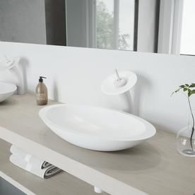 Vigo Waterfall Bathroom Vessel Faucet With Matte Stone Disk In Matte White Vg03002mw060 Sink Faucets Bathroom Faucets Vessel Sink Bathroom