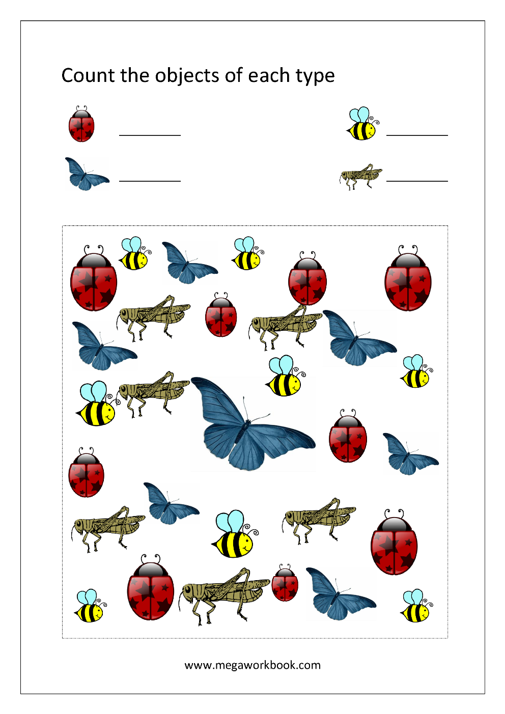 Math Worksheet - Count Objects Of Different Types (1-10 ...