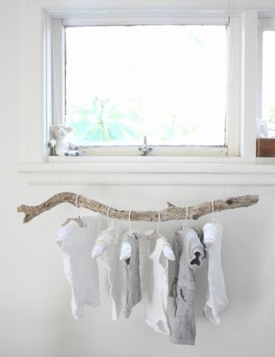 Open concept closet inspiration. Several branches hung over a dresser would be pretty.