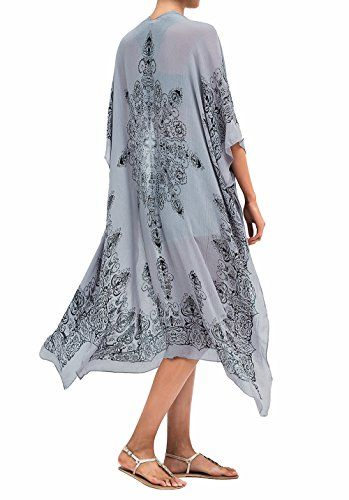 77312849c5 Moss Rose Women's Beach Cover up Swimsuit Kimono Cardigan with Bohemian  Floral Print