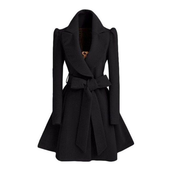 SheIn(sheinside) Black Shawl Collar Frock Coat With Belt ($30 ...