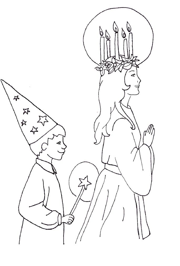 St Lucy Star Boy Coloring Page With Images Santa Lucia Day