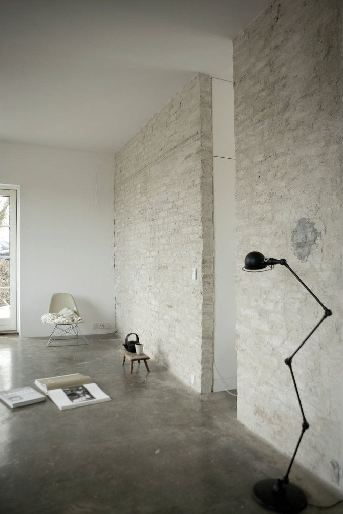 Industrial Design Icons Floor Lamps And Brick Walls White Brick
