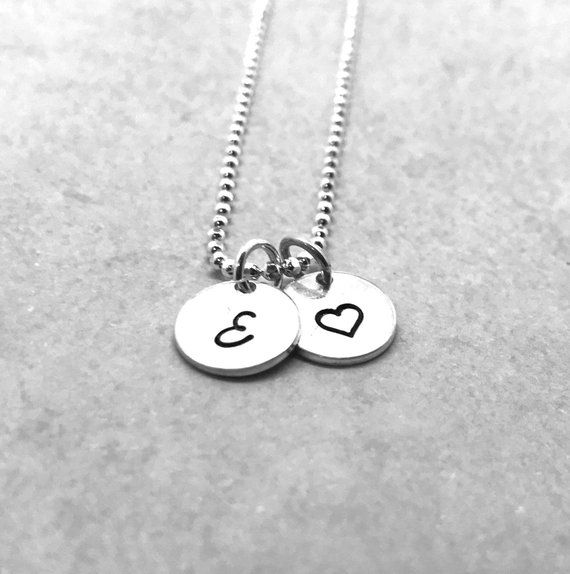 db3627b4c Sterling Silver Initial Necklace with Heart Charm, Letter E Necklace, All  Letters Available, Heart N