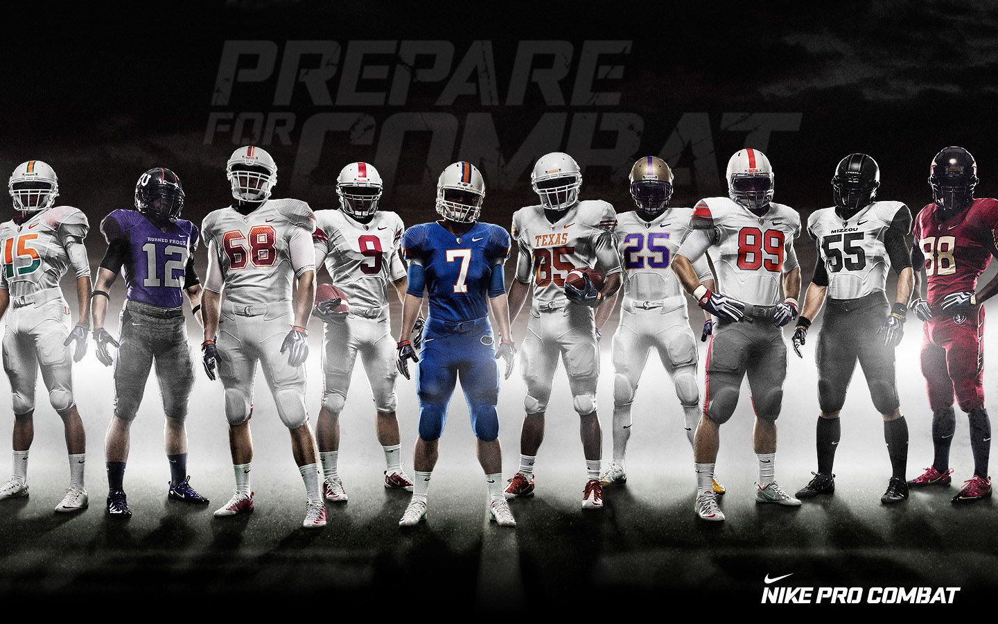 American Football Players Nike Pro Combat Madden Nfl Ncaa College Football