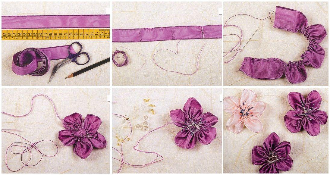 Цветы из лент / Вышивка лентами / В рукоделии